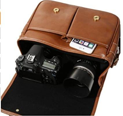 Beaspire Camára Bolsa Bandolera Impermeable de Cuero Sintético Mensajero Funda Protector para 1 DSLR Cámara con 2 Lentes para Canon Sony Nikon Olympus de ...