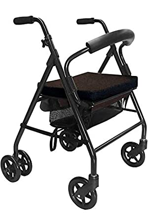 KMINA - Andadores ancianos plegable, Andadores adultos con asiento, Andadores ancianos frenos por presion, Andadores para mayores 4 ruedas, COMFORT ...