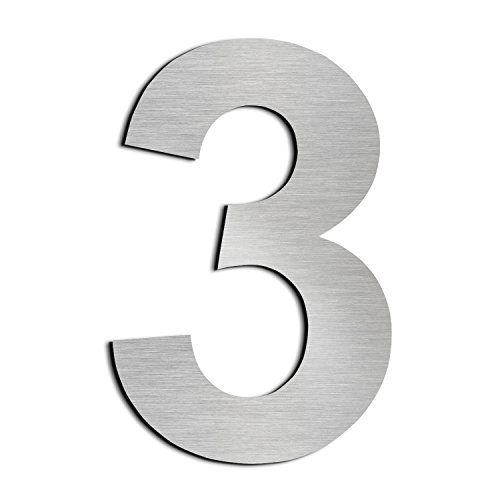 Brushed House Number 3 Three-20.5cm 8.1in-Made of Solid 304 Stainless Steel, Floating Appearance, Easy to Install (Stainless Steel House Number)