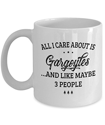 Gargoyles Mug - I Care And Like Maybe 3 People - Funny Novelty Ceramic Coffee & Tea Cup Cool Gifts for Men or Women with Gift Box