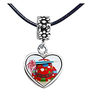 Chicforest Silver Plated Happy Christmas hat Photo Flower Head Dangle Heart Charm Beads Fits Pandora Charm Bracelet