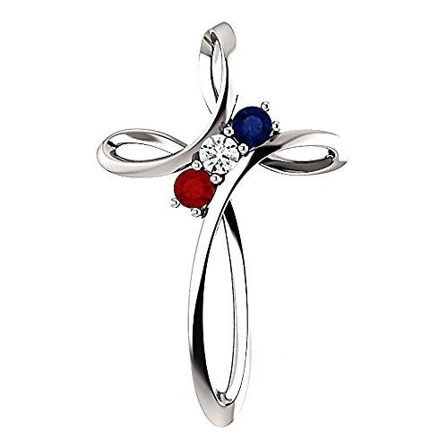Trustmark Jewelers 3 Stone Mother's Cross Slide Pendant Custom Made for Your Family, 14K White Gold ()