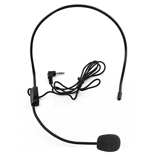 uxcell 3.5mm Jack Head-mounted Headset Condenser Microphone