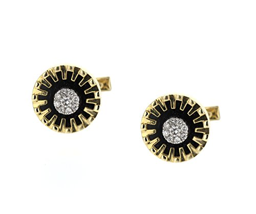 Cuff Links, 14K Yellow Gold with Black Onyx and Diamonds. 0.60 Tcw