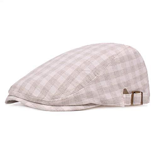 (Idopy Colored Plaid Longshoreman`s Flat Cap Irish Ivy Newsboy Hat (X1403-Beige))
