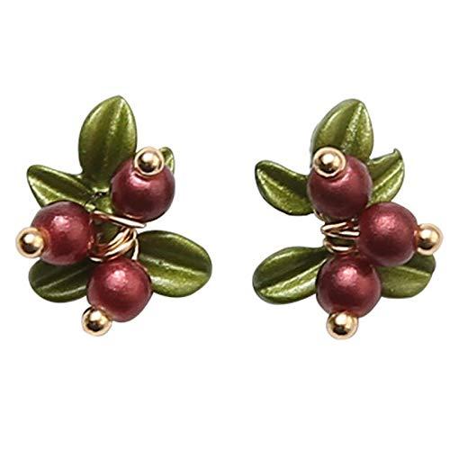Cool Lemon Cute Sweet Red Cranberry Fruits Sterling Silver Pin Alloy Earring Stud Earrings for Girls Women