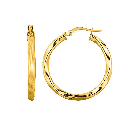 14K Yellow Gold 3x25mm Shiny Round Tube Italian Twists Hoop Earrings with Hinged