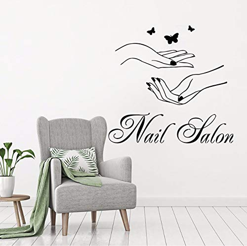 Dalxsh Nail Salon Wall Window Wall Sticker Woman Hands with Butterfly Wall Decal Nail Shop Wall Decor Manicure Logo Design Mural 45x42cm ()