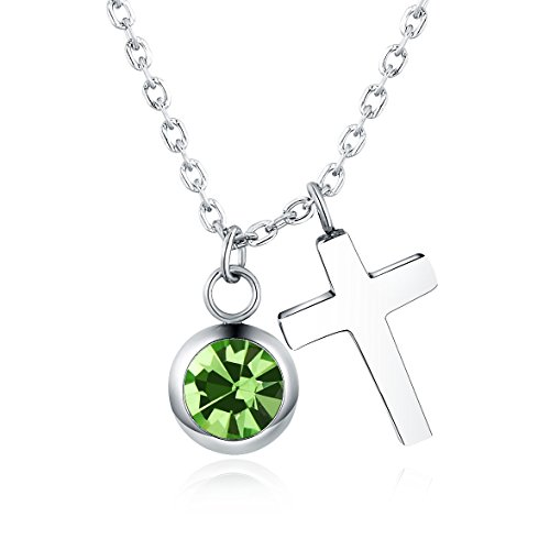 Vinjewelry Crystal Birthstone and Cross Pendant Necklace Girls Best Gifts for Birthday,Christmas,First Communion (August Birthstone - Peridot)