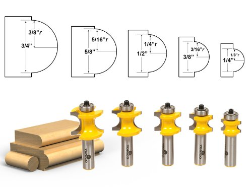 Yonico 13515 5 Bit Bullnose Router Bit Set with C3 Carbide Tipped 1/2-Inch Shank Beading Router Bit Set