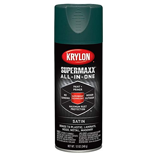 Krylon K08979000 SUPERMAXX All-In-One Spray Paint, Satin Hunter Green, 12 Ounce]()