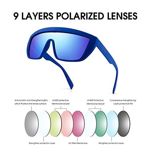 Destello Top Destello Polarizado Azul Azul Plano Para de Sol Espejo Hombre Gafas Anteojos Polarizadas Mujer Moda Escudo q81w1A