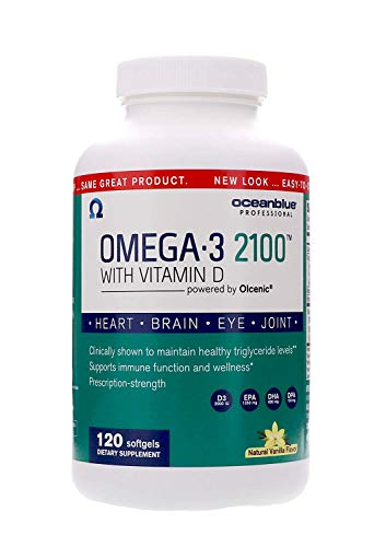 Ocean Blue | Olcenic Blend | Omega 3 2100 with Vitamin D | Pharmaceutical Grade Fish Oil | Vanilla Flavor | 120 Count