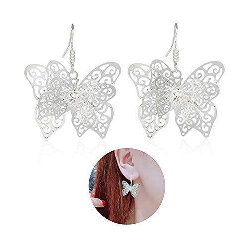 MIXIA Multi-Layer Hollow Butterfly Insect Drop Earring for Women Silver Filigree Wing Dangle Earring Charming Jewelry (B)
