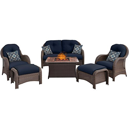 Hanover NEWPT6PCFP-NVY-WG 6 Piece Newport Woven Seating Set in Navy Blue with Fire Pit Table