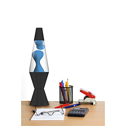 "Schylling 2313 Lava The Original Black Base Lamp with Neon Blue Wax in Clear Liquid, 3.9"" x 3.9"" x 14.5"""