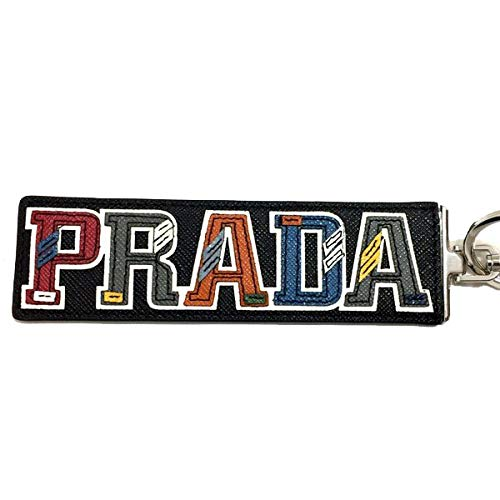 (Prada Trick in Pelle Saffiano Black Leather Multicolored PRADA Character Key Chain Charm 2TL254)