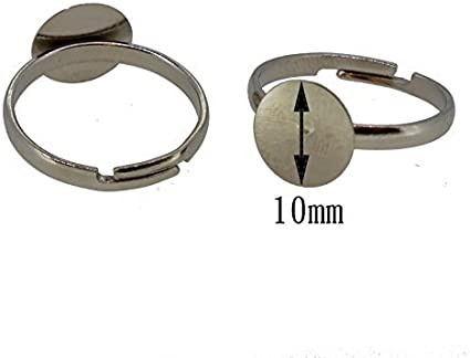 10 x Silver Plated Adjustable Ring Bases 8mm Pad Adult Ring Blanks BRASS