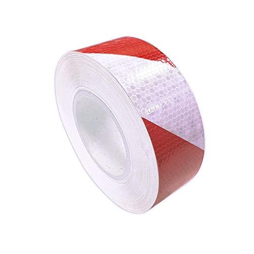 Reflective Hazard Tape Safety Reflectors Tape Red White Diamond Types 2″×9.8′3 PCS ()
