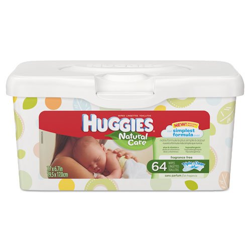 KIMBERLY-CLARK PROFESSIONAL* HUGGIES Natural Care Baby Wipes, Unscented, White, 64/Tub - Includes four tubs of 64 wipes.