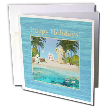 3dRose Beverly Turner Christmas Design - Beach Christmas, Santa, Mermaid, Boat, Sandcastle, Star Fish, Holidays - 12 Greeting Cards with envelopes (gc_267980_2)