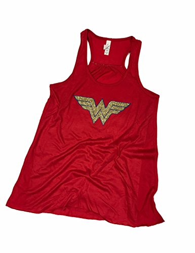 Devious Apparel 'Wonder Woman' Flowy Women's Tank Top - Glitter Polyester Blend Cover up (XXL, Red Glitter)