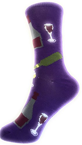 Socks-Women Crew Novelty Comfy Cozy, Trendy, Fashionable and Fun Patterns To Love (WINE LOVERS-PURPLE)