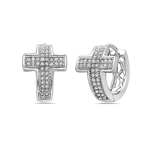 925 Solid Sterling Silver Tiny 15mm Cubic Zirconia Curved Cross Dangling Huggie Hoop Cuff CZ Earrings