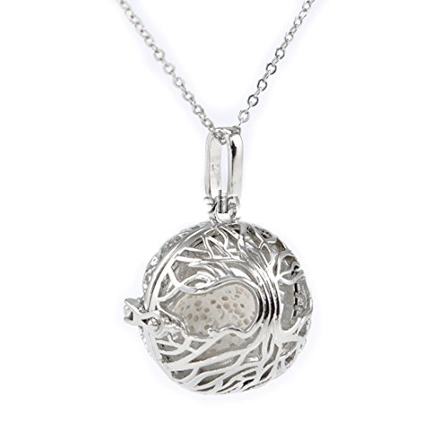 Sier Tree Aromatherapy Perfume Essential Oil Diffuser Necklace Locket With Lava Stone (White) (Sier Oil)
