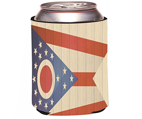 Flag Columbus Ohio - Rikki Knight Ohio Flag on Distressed Wood Design Drinks Cooler Neoprene Beverage Insulators Huggers