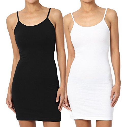 TheMogan Women's Basic Cotton Span Long Cami Slip Mini Dress WhiteBlack L (Slip White Womens)