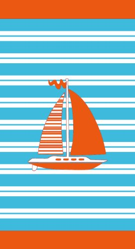 Sea Boat with Stripes Velour Beach Towel 34x64 inches Made in Brazil ()