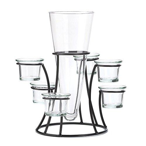 Black Metal Frame Tapered Glass Flower Vase Candle Holder Set