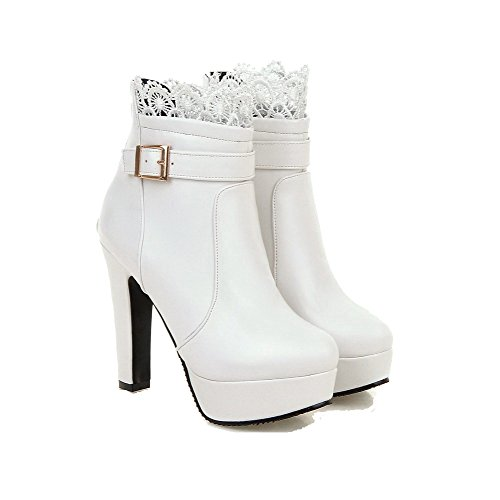 Allhqfashion Mujeres High Heels Soft Material Low-top Solid Zipper Botas Blanco