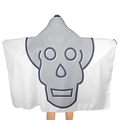 Oversized Hooded Baby Towel Bathrobe Skull X Ray Line Filled Icon Beach Bath Towel Toddler Swim Pool Coverup Poncho Cape for Kids Children Teenager