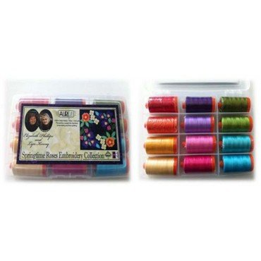 Springtime Roses Embroidery Collection thread Gift Set: 12 large spools of 50wt cotton by Aurifil