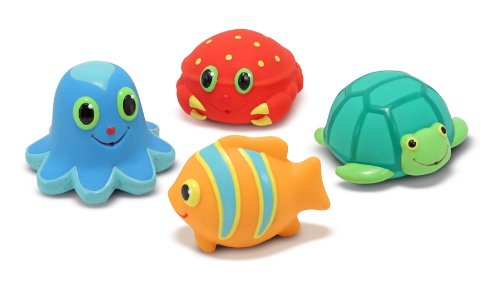 Melissa & Doug Sunny Patch Seaside Sidekicks Squirters With 4 Squeeze-and-Squirt Animals - Water Toys for Kids (Sports Squirters)