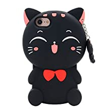 Anya 3D Cute Lovely Cartoon Animal Series Style Lucky Fortune Plutus Cat Soft Rubber & Silicone Shell Case Cover for iPhone 4G 4S Black