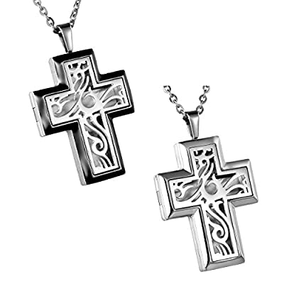 HooAMI Cross Stainless Steel Aromatherapy Essential Oil Diffuser Necklace Locket Pendant