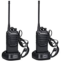 2 Ways Radio Walkie Talkies Baofeng BF-888SA 2 Packs Long Range and Reachargeble with Earpieces for Adults Trolling Camping Hiking Hunting Travelling