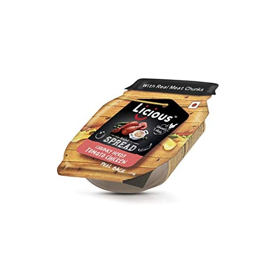 Licious Spread Chunky Herby Tomato Chicken Spread Pouch, 35 g