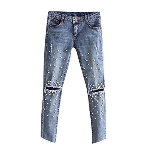 huayun High Waist Knee Cut Stretch Jeans Broken Pearled Slim Denim Pencil Pants Boyfriend Jeans,As Photo Show,27