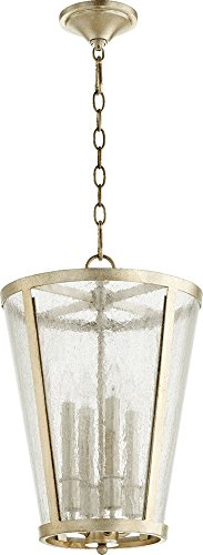 4+4lt Entry - Quorum Lighting 689-4-60, Entry Pendant, 4LT, 80 Watts, Aged Silver Leaf w/Clear/Seeded