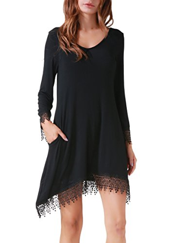 Invug Women Casual Soft Long Sleeve Pockets Lace Stretchy Swing T-shirt Dress Black XL