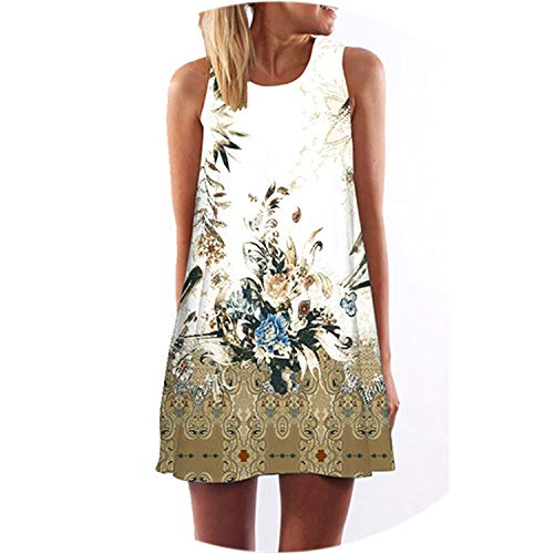 Women Summer Dress Casual Beach Dress Floral Print Tunic Sleeveless Short Dress,Picture Color6,S