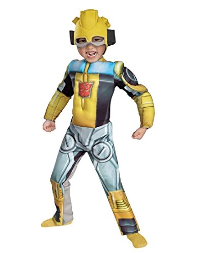 Bumblebee Rescue Bot Toddler Muscle Costume, Yellow/Silver/Blue, Medium -