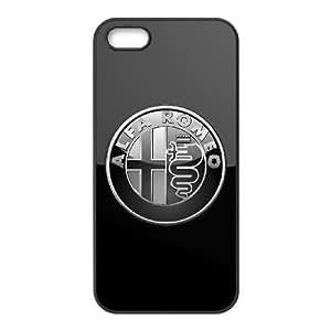 ALFA ROMEO PLATA 3D INSIGNIA LOGO funda iPhone 5 5s funda caja del teléfono celular cubren negro, el funda iPhone 5 5s casos funda negro