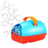 Theefun Bubble Machine for Kids, Automatic Bubble Blower, Durable Bubble Maker, USB or Battery Operated, Over 500 Bubbles Per Minute for Outdoor or Indoor Use,, Blue/Red