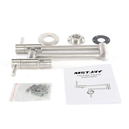 MSTJRY Pot Filler Faucet Wall Mount Commercial Kitchen Faucets Stainless Steel Stretchable Double Joint Swing Arm Single Hole Two Handle Kitchen Sink Faucet by MSTJRY (Image #6)