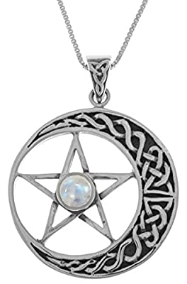Sterling Silver Celtic Moon and Star Pentacle Pendant with Moonstone